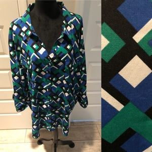 Catherines Blue/Green Geometric Button Down Blouse